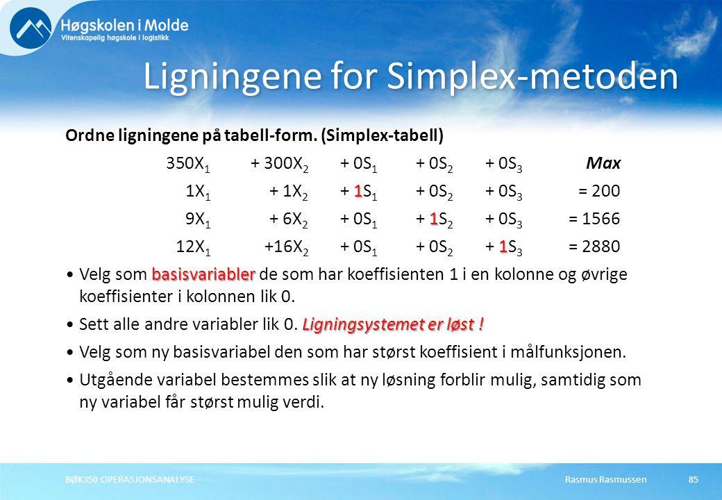 Rasmus RasmussenBØK350 OPERASJONSANALYSE85 Ordne ligningene på tabell-form. (Simplex-tabell) 350X 1 + 300X 2 + 0S 1 + 0S 2 + 0S 3 Max 1 1X 1 + 1X 2 +