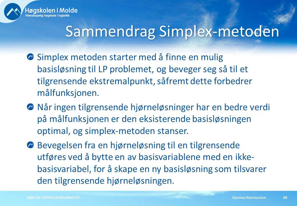 Rasmus RasmussenBØK350 OPERASJONSANALYSE88 Simplex metoden starter med å finne en mulig basisløsning til LP problemet, og beveger seg så til et tilgre