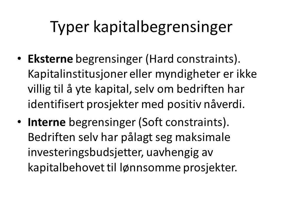 Typer kapitalbegrensinger Eksterne begrensinger (Hard constraints). Kapitalinstitusjoner eller myndigheter er ikke villig til å yte kapital, selv om b