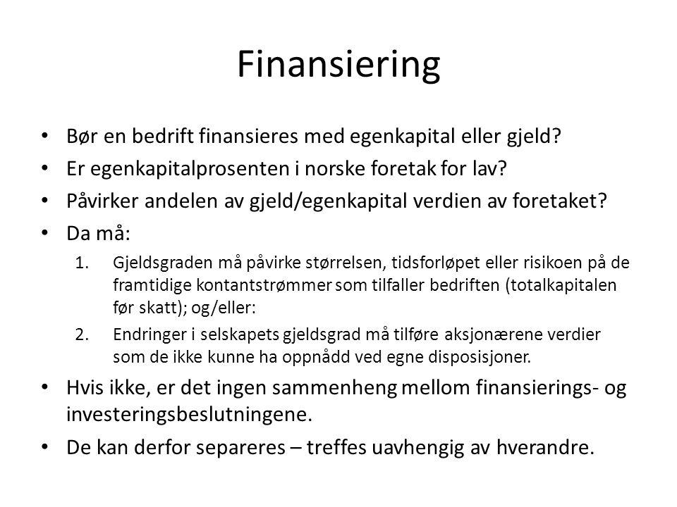 Finansiering Bør en bedrift finansieres med egenkapital eller gjeld? Er egenkapitalprosenten i norske foretak for lav? Påvirker andelen av gjeld/egenk