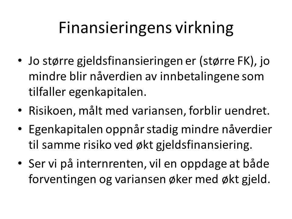 Finansieringens virkning Jo større gjeldsfinansieringen er (større FK), jo mindre blir nåverdien av innbetalingene som tilfaller egenkapitalen. Risiko