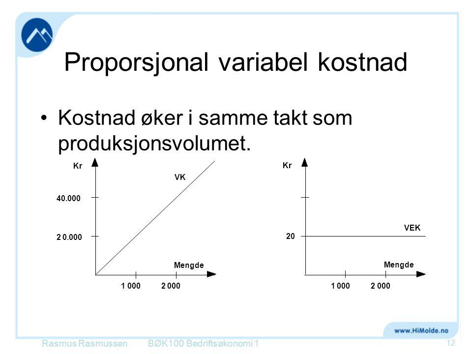 Proporsjonal variabel kostnad Kostnad øker i samme takt som produksjonsvolumet. BØK100 Bedriftsøkonomi 1 12 40.000 20.000 20001 Mengde Kr 20 12000 Men