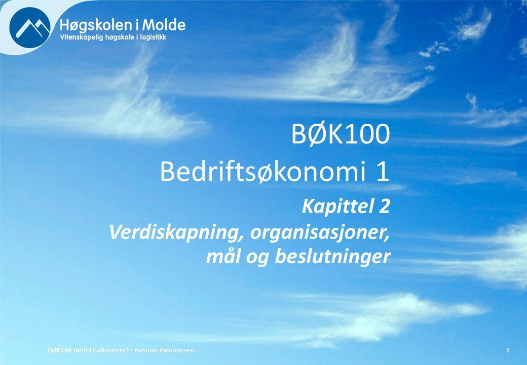 BØK100 Bedriftsøkonomi 1 Kapittel 2 Verdiskapning, organisasjoner, mål og beslutninger BØK100 Bedriftsøkonomi 1 - Rasmus Rasmussen1