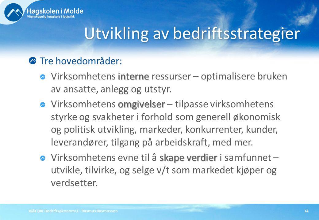BØK100 Bedriftsøkonomi 1 - Rasmus Rasmussen14 Tre hovedområder: interne Virksomhetens interne ressurser – optimalisere bruken av ansatte, anlegg og ut