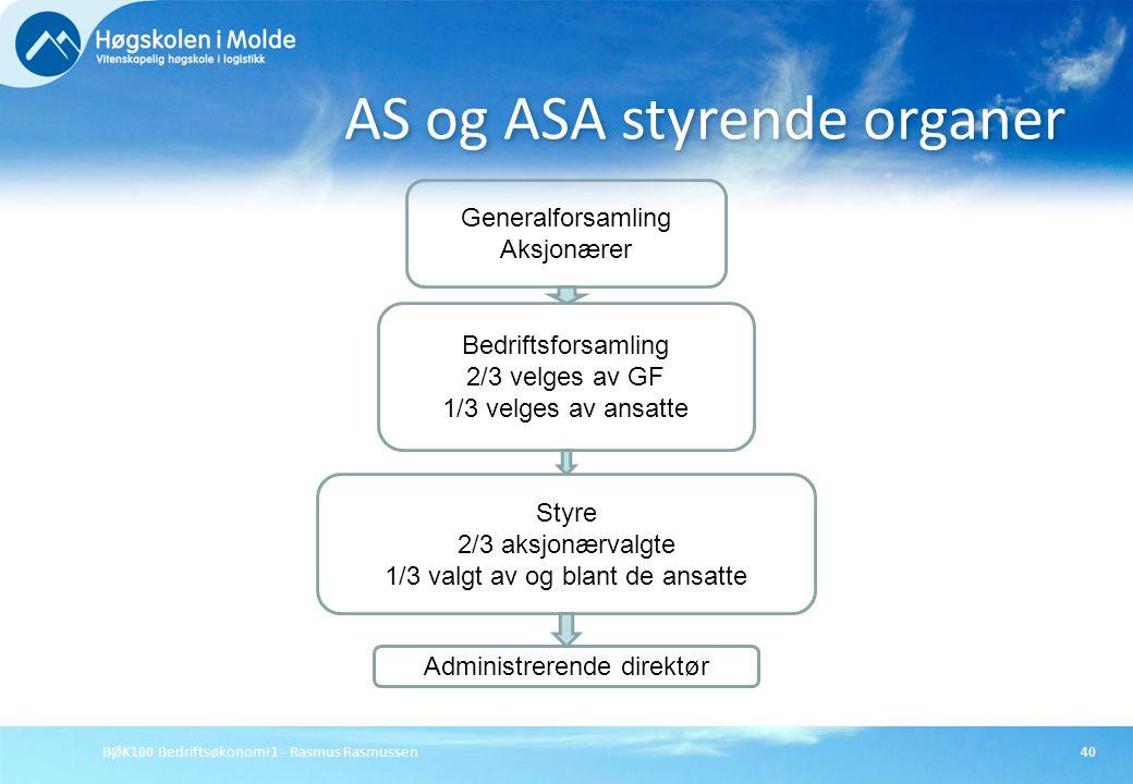 BØK100 Bedriftsøkonomi 1 - Rasmus Rasmussen40 AS og ASA styrende organer Generalforsamling Aksjonærer Bedriftsforsamling 2/3 velges av GF 1/3 velges a