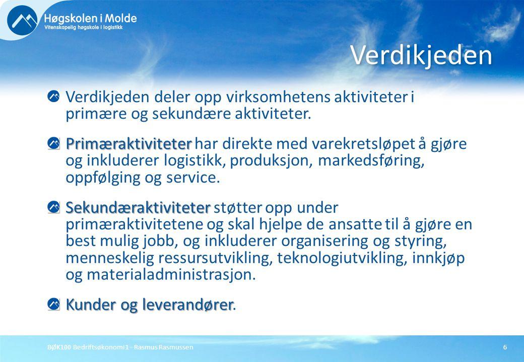 BØK100 Bedriftsøkonomi 1 - Rasmus Rasmussen6 Verdikjeden deler opp virksomhetens aktiviteter i primære og sekundære aktiviteter. Primæraktiviteter Pri