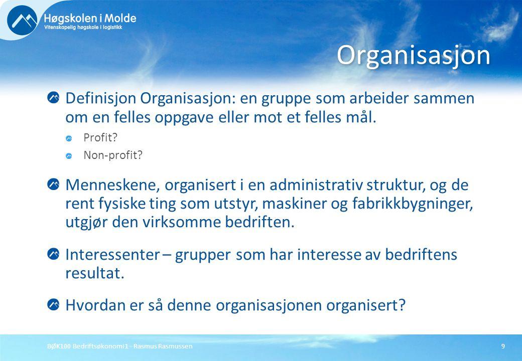 BØK100 Bedriftsøkonomi 1 - Rasmus Rasmussen9 Definisjon Organisasjon: en gruppe som arbeider sammen om en felles oppgave eller mot et felles mål. Prof