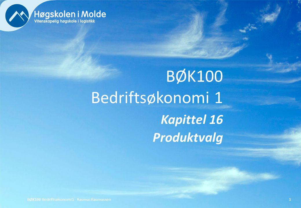 BØK100 Bedriftsøkonomi 1 - Rasmus Rasmussen12 Vi kan løse produktvalgsproblemer med flere knappe faktorer (begrensinger) i en grafisk figur, hvis det bare er to produkter.