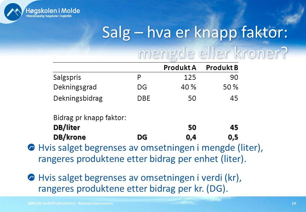 BØK100 Bedriftsøkonomi 1 - Rasmus Rasmussen10 Hvis salget begrenses av omsetningen i mengde (liter), rangeres produktene etter bidrag per enhet (liter