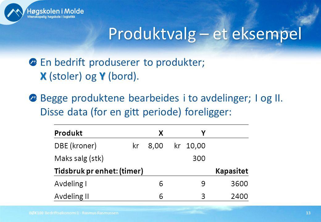 BØK100 Bedriftsøkonomi 1 - Rasmus Rasmussen13 XY En bedrift produserer to produkter; X (stoler) og Y (bord). Begge produktene bearbeides i to avdeling