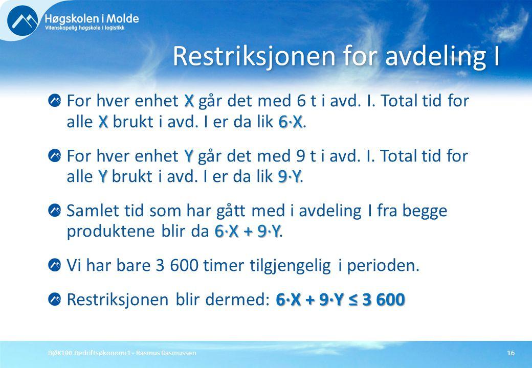 BØK100 Bedriftsøkonomi 1 - Rasmus Rasmussen16 X X6·X For hver enhet X går det med 6 t i avd. I. Total tid for alle X brukt i avd. I er da lik 6·X. Y Y
