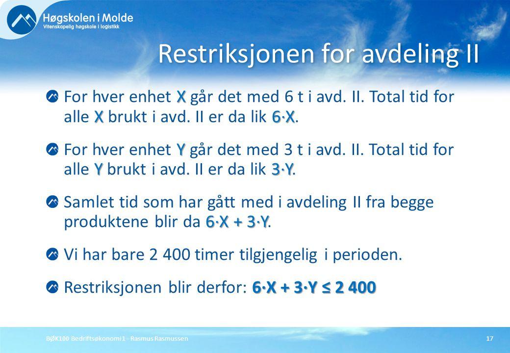 BØK100 Bedriftsøkonomi 1 - Rasmus Rasmussen17 X X6·X For hver enhet X går det med 6 t i avd. II. Total tid for alle X brukt i avd. II er da lik 6·X. Y