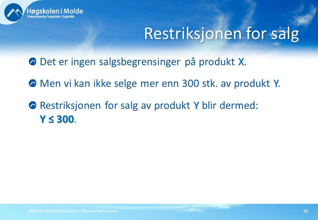 BØK100 Bedriftsøkonomi 1 - Rasmus Rasmussen18 X Det er ingen salgsbegrensinger på produkt X. Y Men vi kan ikke selge mer enn 300 stk. av produkt Y. Y
