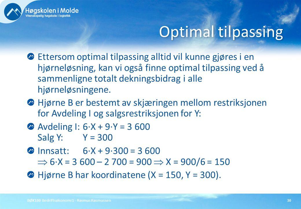 BØK100 Bedriftsøkonomi 1 - Rasmus Rasmussen30 Ettersom optimal tilpassing alltid vil kunne gjøres i en hjørneløsning, kan vi også finne optimal tilpas