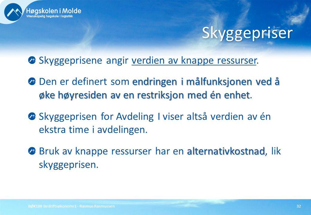 BØK100 Bedriftsøkonomi 1 - Rasmus Rasmussen32 Skyggeprisene angir verdien av knappe ressurser. endringen i målfunksjonen ved å øke høyresiden av en re
