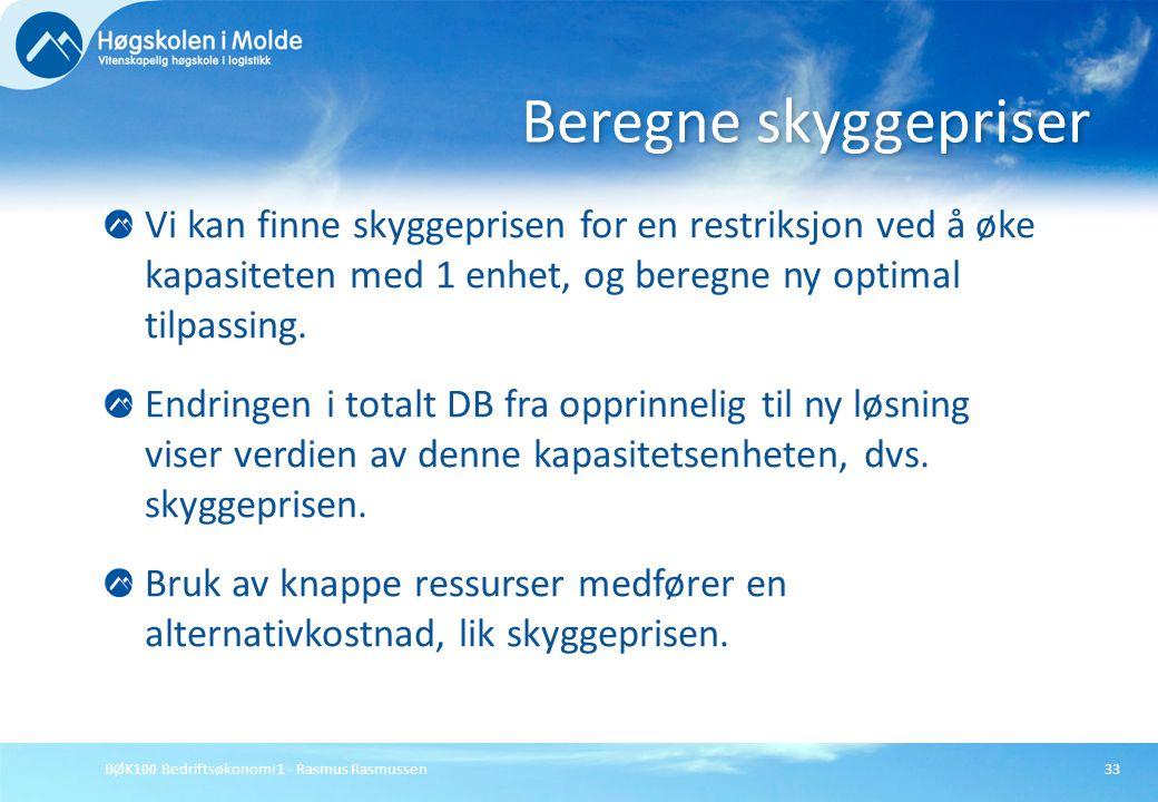 BØK100 Bedriftsøkonomi 1 - Rasmus Rasmussen33 Vi kan finne skyggeprisen for en restriksjon ved å øke kapasiteten med 1 enhet, og beregne ny optimal ti