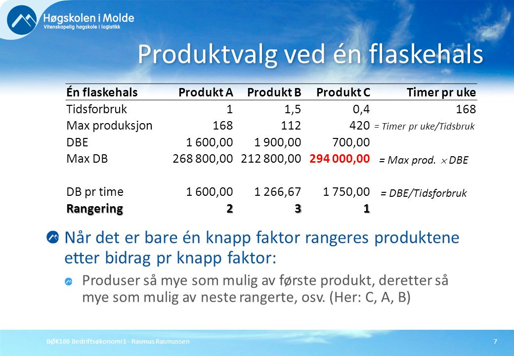 BØK100 Bedriftsøkonomi 1 - Rasmus Rasmussen7 Når det er bare én knapp faktor rangeres produktene etter bidrag pr knapp faktor: Produser så mye som mul