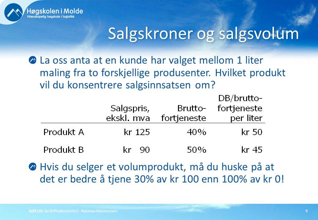 BØK100 Bedriftsøkonomi 1 - Rasmus Rasmussen10 Hvis salget begrenses av omsetningen i mengde (liter), rangeres produktene etter bidrag per enhet (liter).