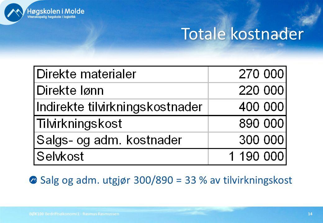 BØK100 Bedriftsøkonomi 1 - Rasmus Rasmussen14 Salg og adm. utgjør 300/890 = 33 % av tilvirkningskost Totale kostnader