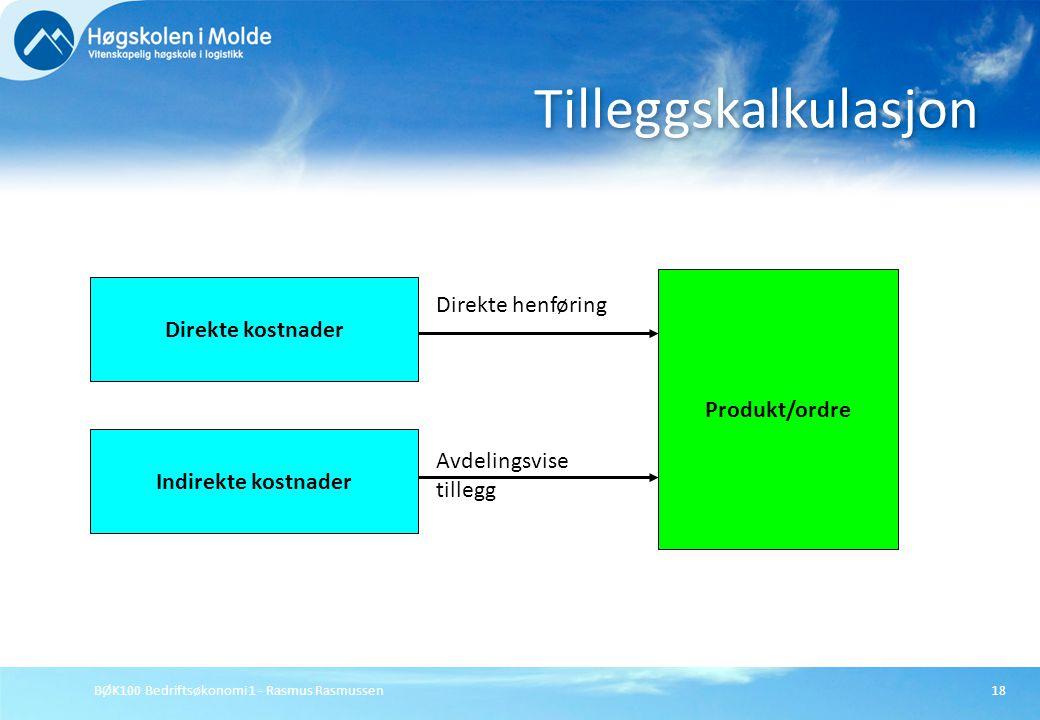 BØK100 Bedriftsøkonomi 1 - Rasmus Rasmussen18 Tilleggskalkulasjon Direkte kostnader Indirekte kostnader Produkt/ordre Direkte henføring Avdelingsvise