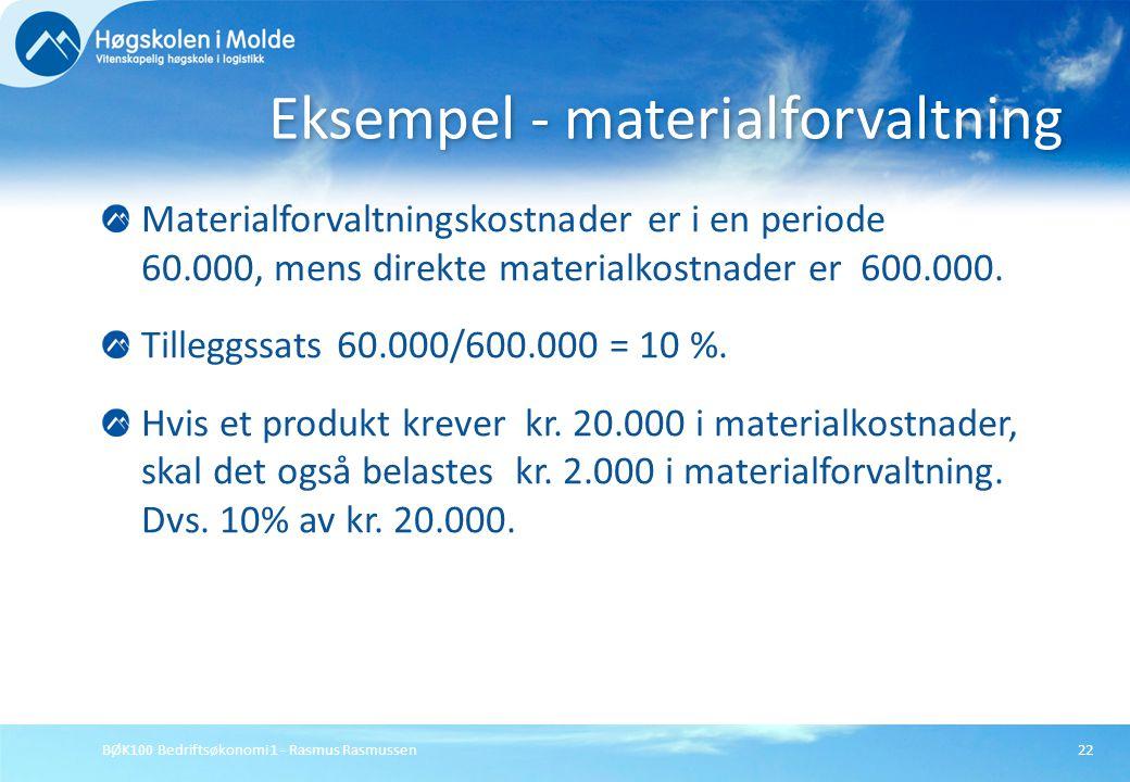 BØK100 Bedriftsøkonomi 1 - Rasmus Rasmussen22 Materialforvaltningskostnader er i en periode 60.000, mens direkte materialkostnader er 600.000. Tillegg