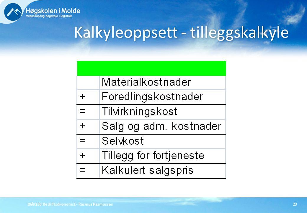 BØK100 Bedriftsøkonomi 1 - Rasmus Rasmussen23 Kalkyleoppsett - tilleggskalkyle