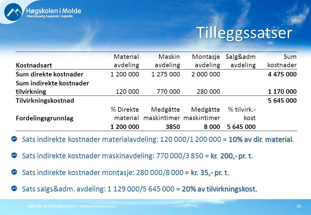 BØK100 Bedriftsøkonomi 1 - Rasmus Rasmussen26 10% av dir. material Sats indirekte kostnader materialavdeling: 120 000/1 200 000 = 10% av dir. material