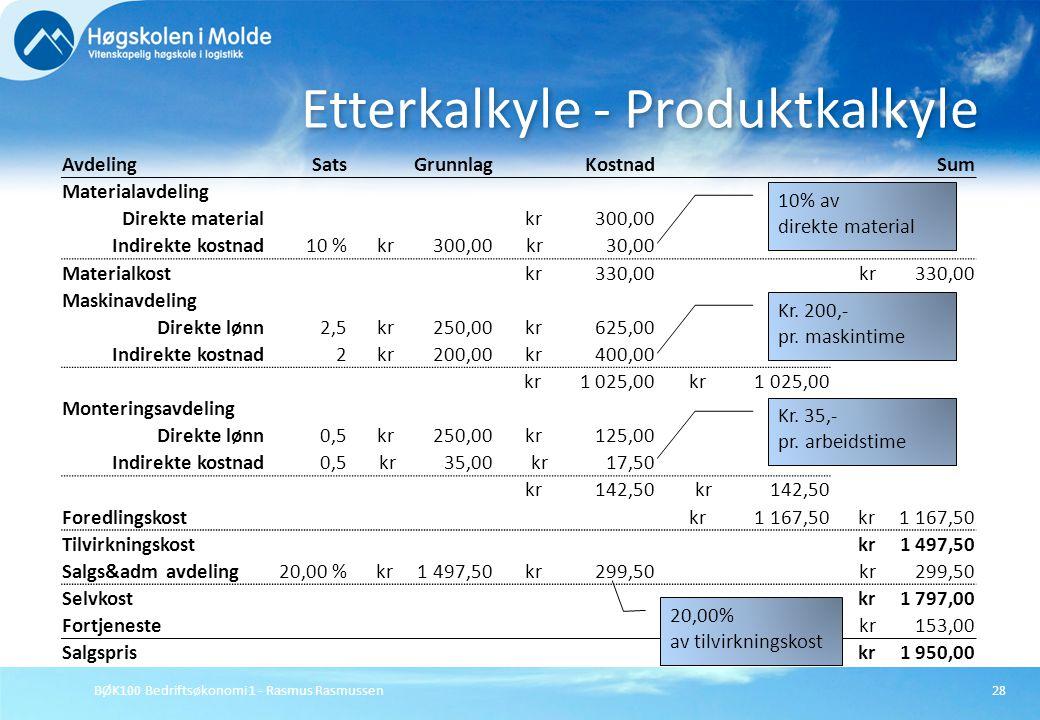 BØK100 Bedriftsøkonomi 1 - Rasmus Rasmussen28 Etterkalkyle - Produktkalkyle AvdelingSatsGrunnlagKostnadSum Materialavdeling Direkte material kr 300,00