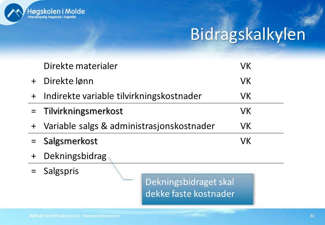 BØK100 Bedriftsøkonomi 1 - Rasmus Rasmussen31 Bidragskalkylen Direkte materialerVK +Direkte lønnVK +Indirekte variable tilvirkningskostnaderVK =Tilvir