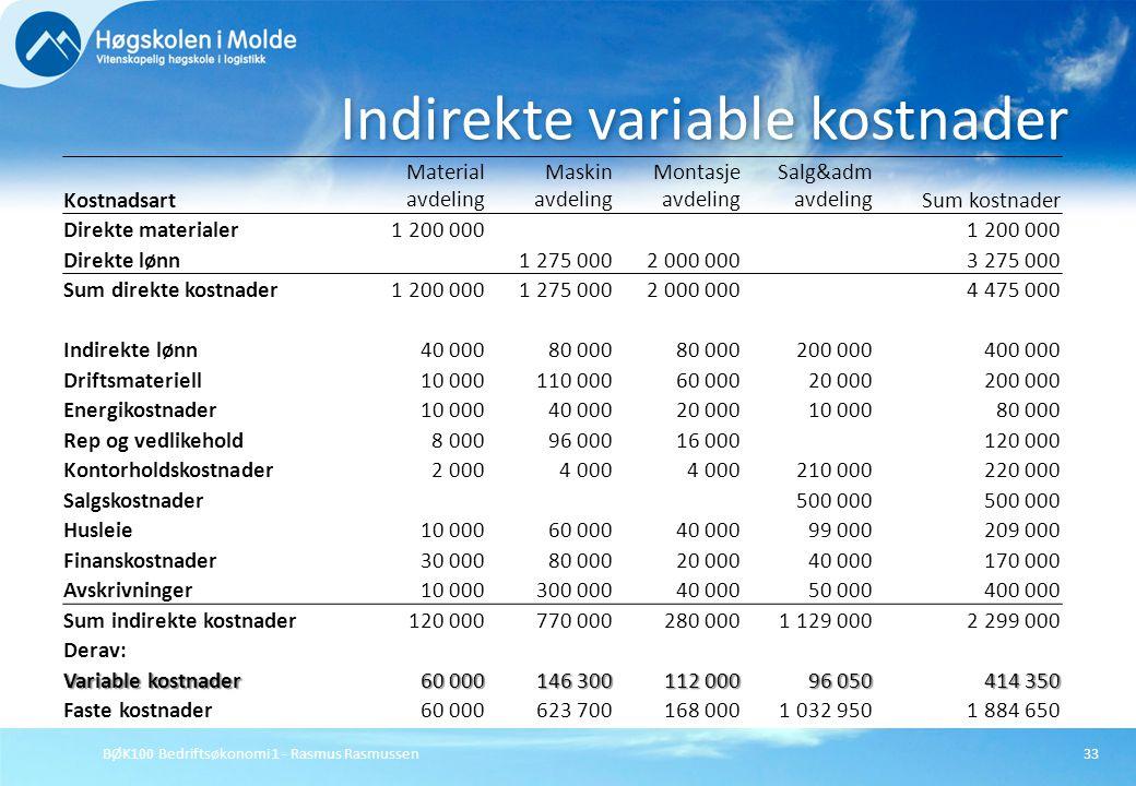 BØK100 Bedriftsøkonomi 1 - Rasmus Rasmussen33 Indirekte variable kostnader Kostnadsart Material avdeling Maskin avdeling Montasje avdeling Salg&adm av