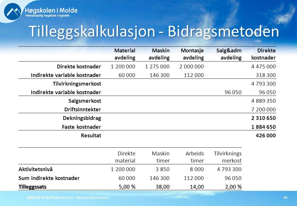 BØK100 Bedriftsøkonomi 1 - Rasmus Rasmussen34 Tilleggskalkulasjon - Bidragsmetoden Material avdeling Maskin avdeling Montasje avdeling Salg&adm avdeli