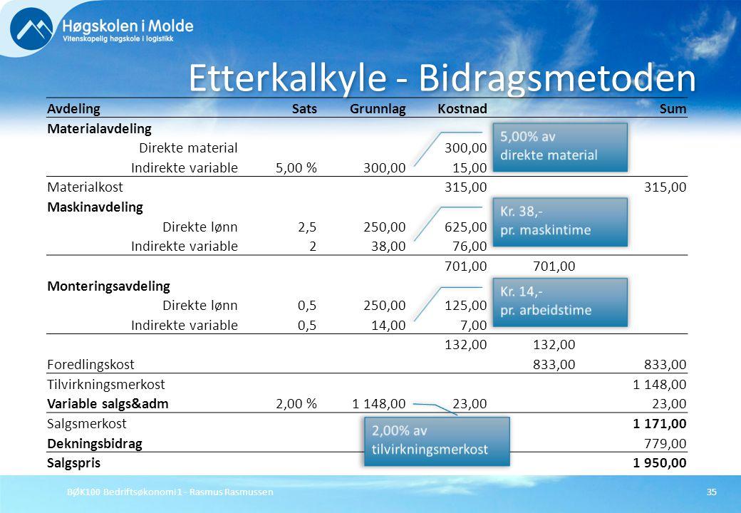 BØK100 Bedriftsøkonomi 1 - Rasmus Rasmussen35 Etterkalkyle - Bidragsmetoden AvdelingSatsGrunnlagKostnadSum Materialavdeling Direkte material300,00 Ind