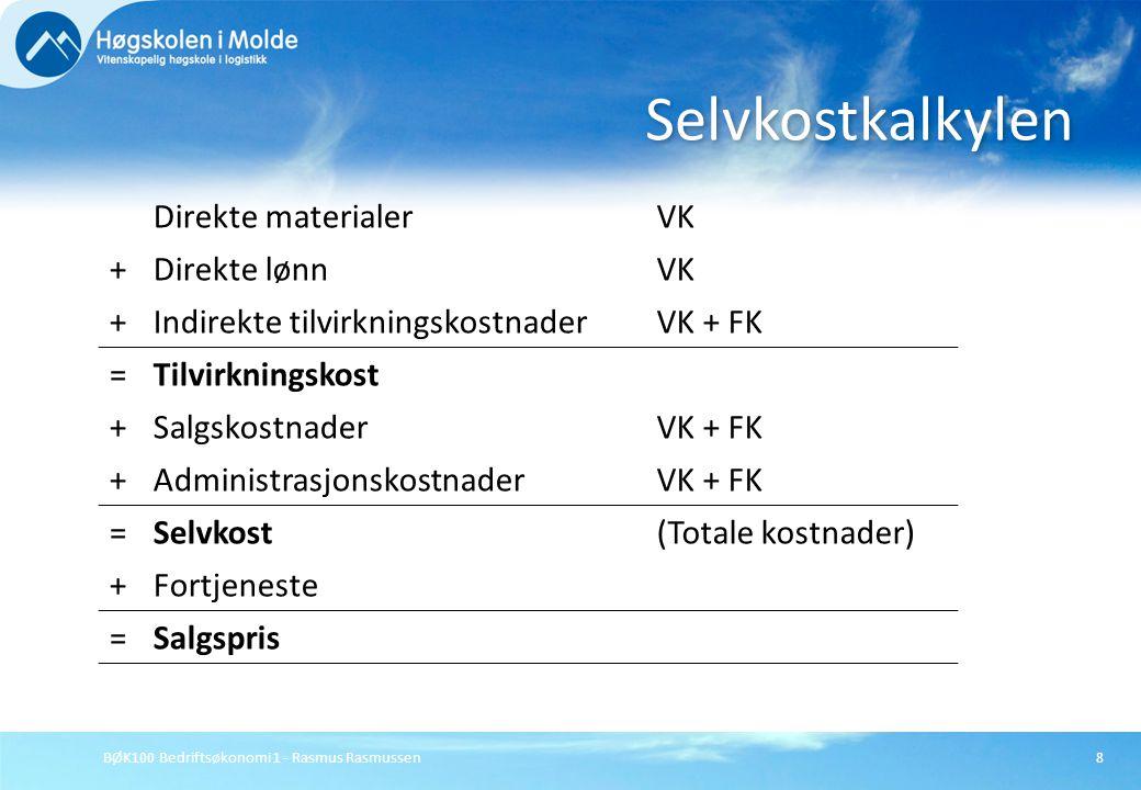 BØK100 Bedriftsøkonomi 1 - Rasmus Rasmussen8 Selvkostkalkylen Direkte materialerVK +Direkte lønnVK +Indirekte tilvirkningskostnaderVK + FK =Tilvirknin