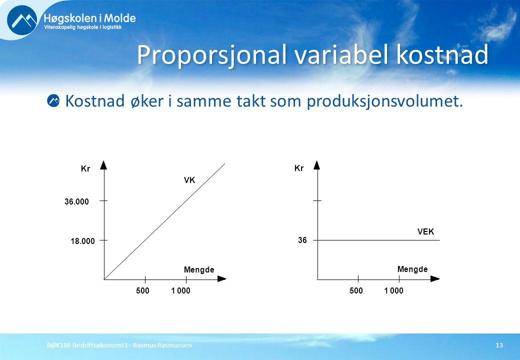 BØK100 Bedriftsøkonomi 1 - Rasmus Rasmussen13 Kostnad øker i samme takt som produksjonsvolumet. Proporsjonal variabel kostnad 36.000 18.000 1000500 Me