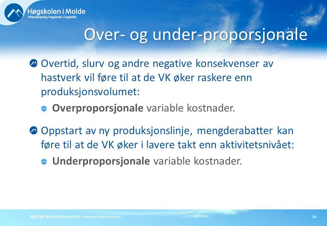 BØK100 Bedriftsøkonomi 1 - Rasmus Rasmussen14 Overtid, slurv og andre negative konsekvenser av hastverk vil føre til at de VK øker raskere enn produks
