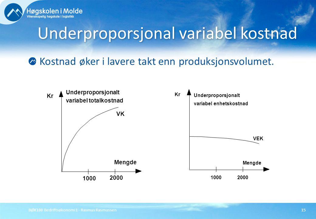 BØK100 Bedriftsøkonomi 1 - Rasmus Rasmussen15 Kostnad øker i lavere takt enn produksjonsvolumet. Underproporsjonal variabel kostnad 2000 1000 Mengde K