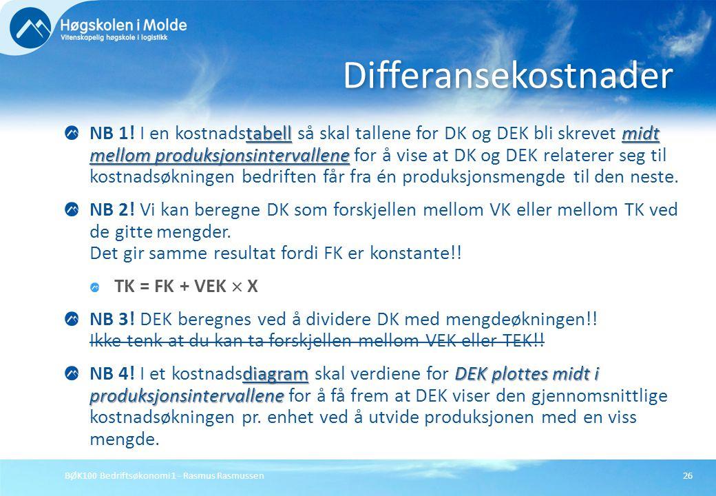 BØK100 Bedriftsøkonomi 1 - Rasmus Rasmussen26 tabellmidt mellom produksjonsintervallene NB 1! I en kostnadstabell så skal tallene for DK og DEK bli sk