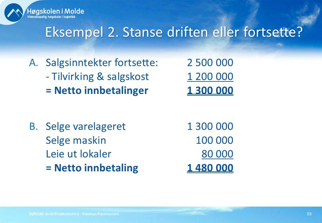 BØK100 Bedriftsøkonomi 1 - Rasmus Rasmussen53 A.Salgsinntekter fortsette:2 500 000 - Tilvirking & salgskost 1 200 000 = Netto innbetalinger1 300 000 B