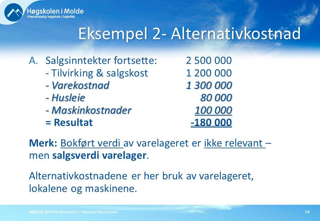 BØK100 Bedriftsøkonomi 1 - Rasmus Rasmussen54 - Varekostnad1 300 000 - Husleie80 000 - Maskinkostnader100 000 A.Salgsinntekter fortsette:2 500 000 - T