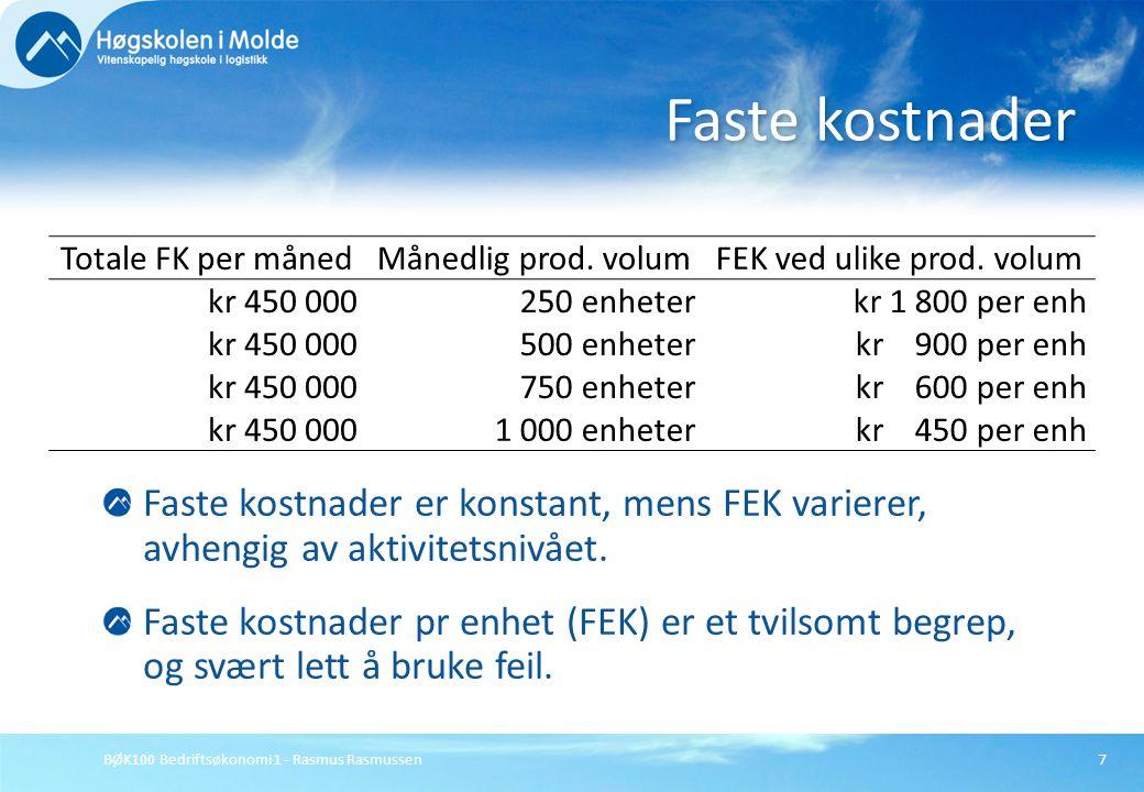BØK100 Bedriftsøkonomi 1 - Rasmus Rasmussen7 Faste kostnader er konstant, mens FEK varierer, avhengig av aktivitetsnivået. Faste kostnader pr enhet (F