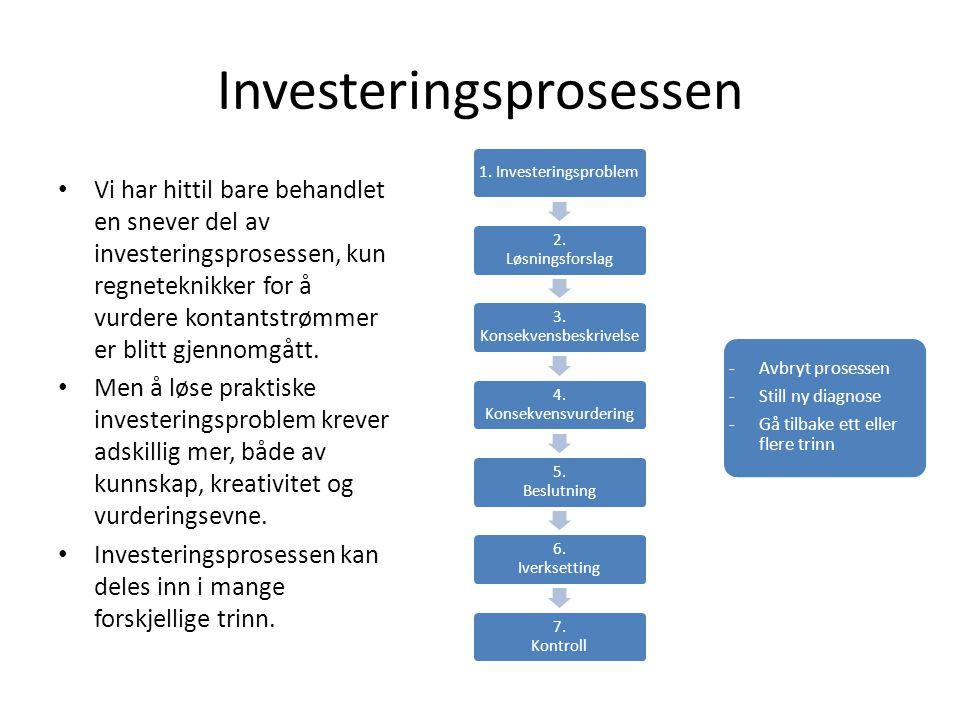 Investeringsprosessen Vi har hittil bare behandlet en snever del av investeringsprosessen, kun regneteknikker for å vurdere kontantstrømmer er blitt gjennomgått.