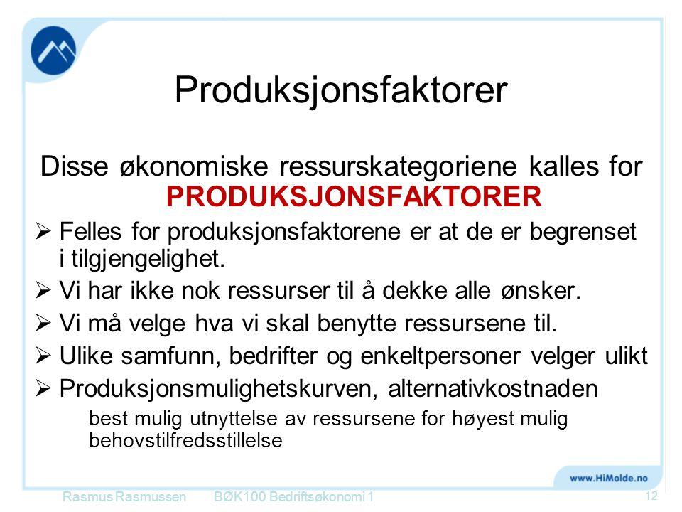 Produksjonsfaktorer Disse økonomiske ressurskategoriene kalles for PRODUKSJONSFAKTORER  Felles for produksjonsfaktorene er at de er begrenset i tilgj