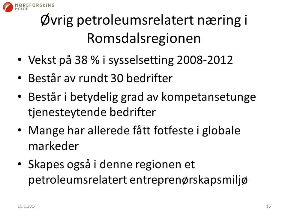 Øvrig petroleumsrelatert næring i Romsdalsregionen Vekst på 38 % i sysselsetting 2008-2012 Består av rundt 30 bedrifter Består i betydelig grad av kompetansetunge tjenesteytende bedrifter Mange har allerede fått fotfeste i globale markeder Skapes også i denne regionen et petroleumsrelatert entreprenørskapsmiljø 16.1.201416