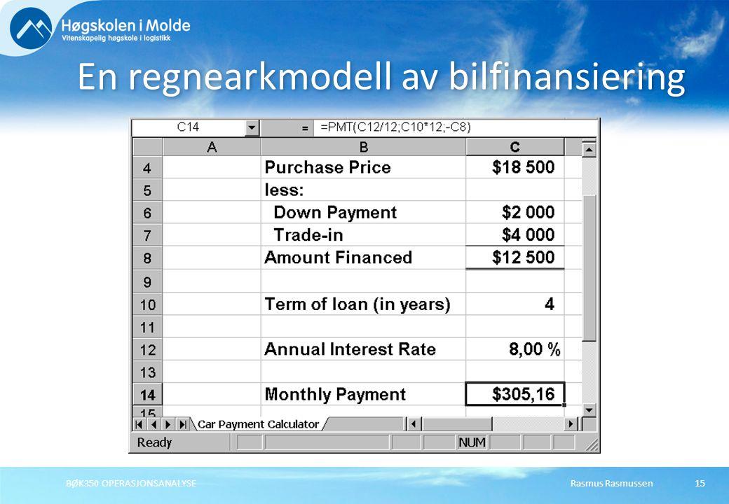 Rasmus RasmussenBØK350 OPERASJONSANALYSE15 En regnearkmodell av bilfinansiering