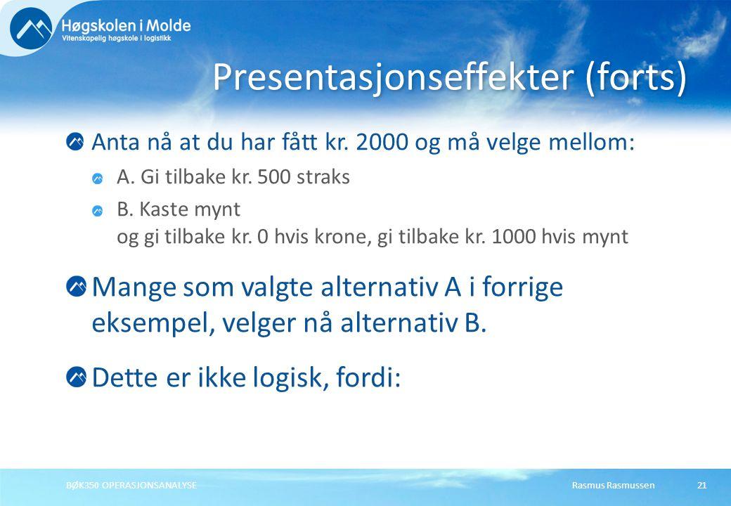 Rasmus RasmussenBØK350 OPERASJONSANALYSE21 Anta nå at du har fått kr.