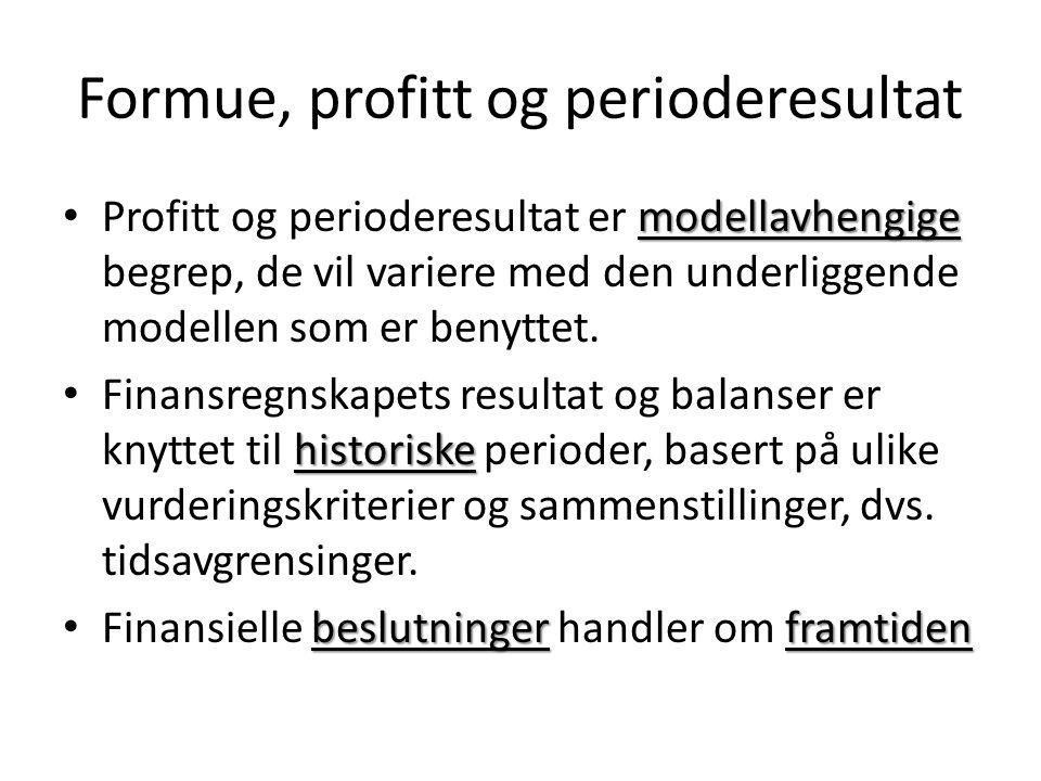 Formue, profitt og perioderesultat modellavhengige Profitt og perioderesultat er modellavhengige begrep, de vil variere med den underliggende modellen