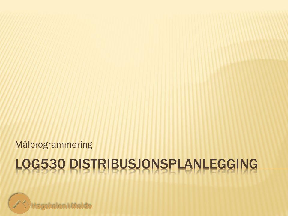 LOG530 Distribusjonsplanlegging 22 Nye restriksjoner: Målprogrammering 10.3-11 Ingen prosentvise avvik, når de veies med sin tilhørende vekt, kan være større enn MiniMax- variabelen Q.
