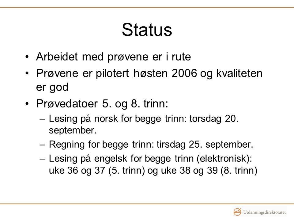 Status Arbeidet med prøvene er i rute Prøvene er pilotert høsten 2006 og kvaliteten er god Prøvedatoer 5. og 8. trinn: –Lesing på norsk for begge trin