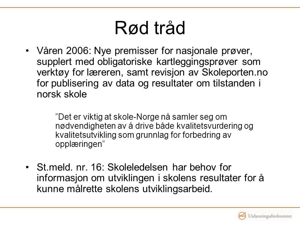 Rød tråd Våren 2006: Nye premisser for nasjonale prøver, supplert med obligatoriske kartleggingsprøver som verktøy for læreren, samt revisjon av Skole