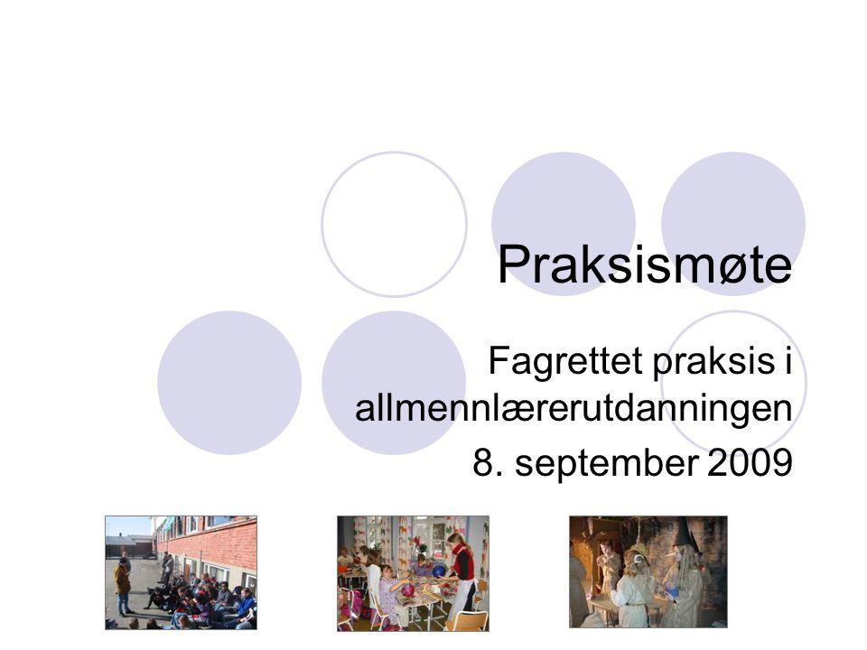 Praksismøte Fagrettet praksis i allmennlærerutdanningen 8. september 2009